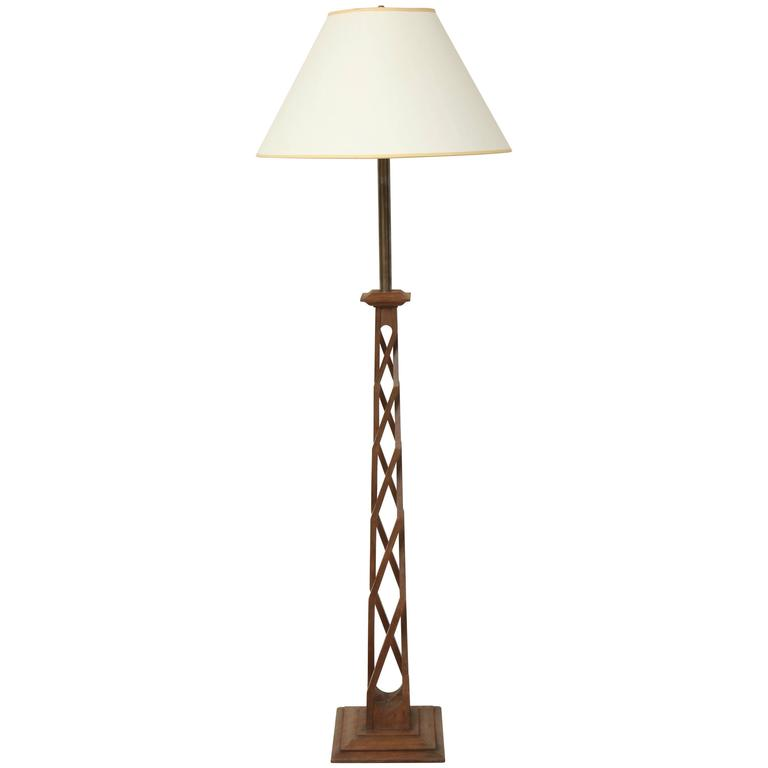 Arts And Crafts Carved Walnut Helix Base Standing Lamp At