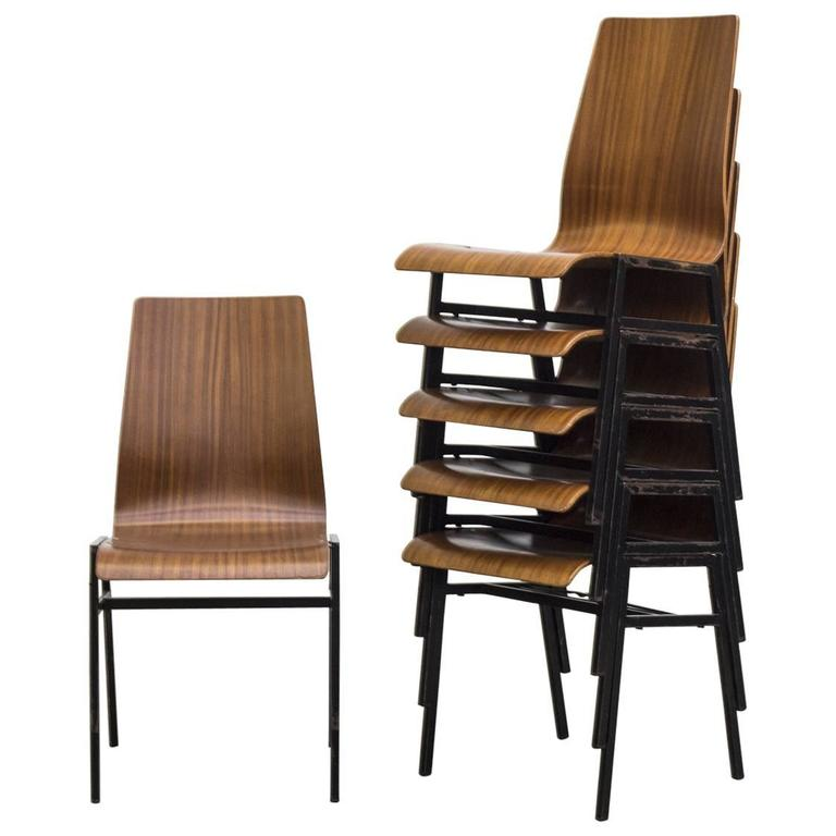 Thonet Style Stacking Bent Plywood School Chairs For Sale