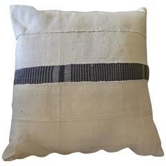 Vintage African Linen Pillows White with Blue Stripe by Haskell