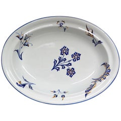 Wedgwood Blue, White and Gilt Floral Footed Dish