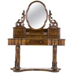 B628 Antique Scottish Victorian Burr Walnut Duchess Dressing Table, Vanity