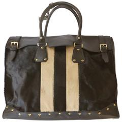 Late 20th Century Gucci Pony & Studded Leather Travel Satchel, Tom Ford Era