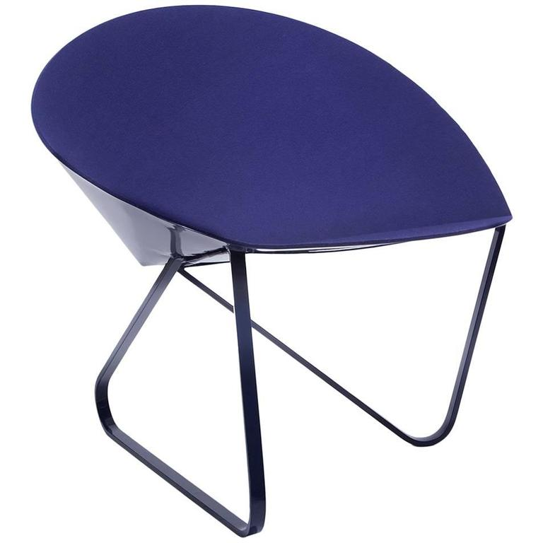 'Curved Chair' Felt Padded and Coated Steel in Customizable Color For Sale