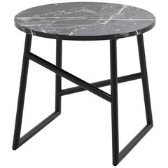 Algedi Side Table, Powder Coated with Marble Top