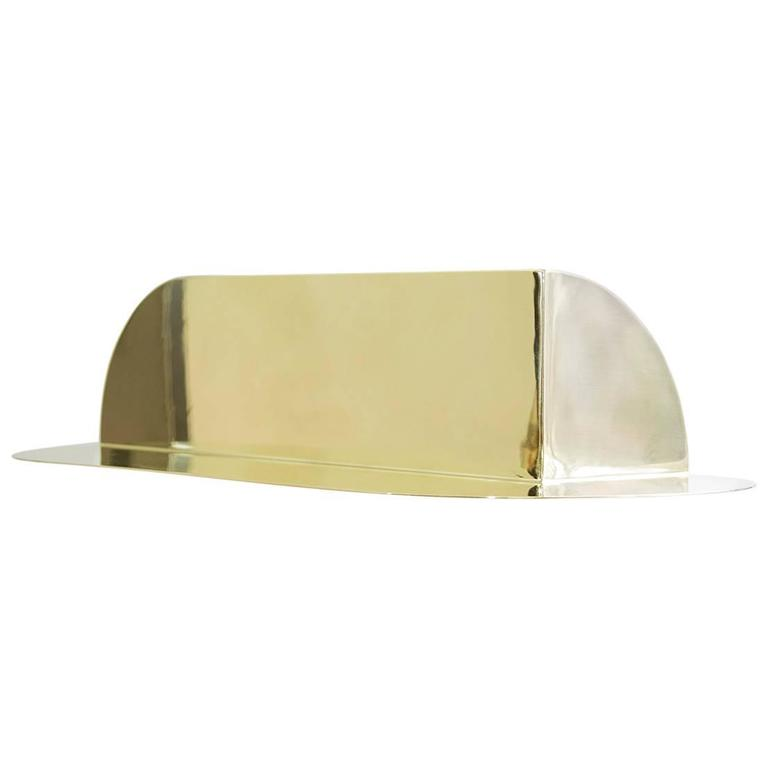 'Corner Shelf' - Minimalist - Reflective Brass, Customizable Size  For Sale