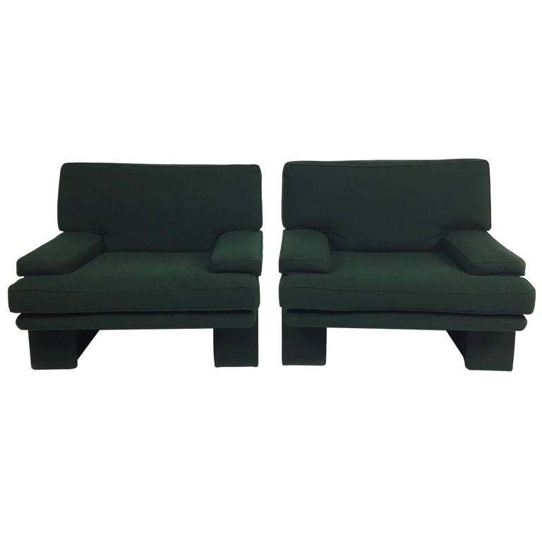 "1980s Furniture pair of post-modern fully-upholstered ""sirino"" armchairswalter"