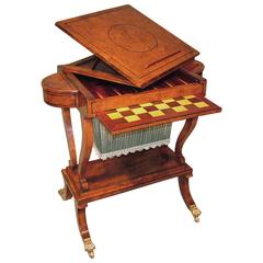 Regency Period Yewwood Work or Games Table