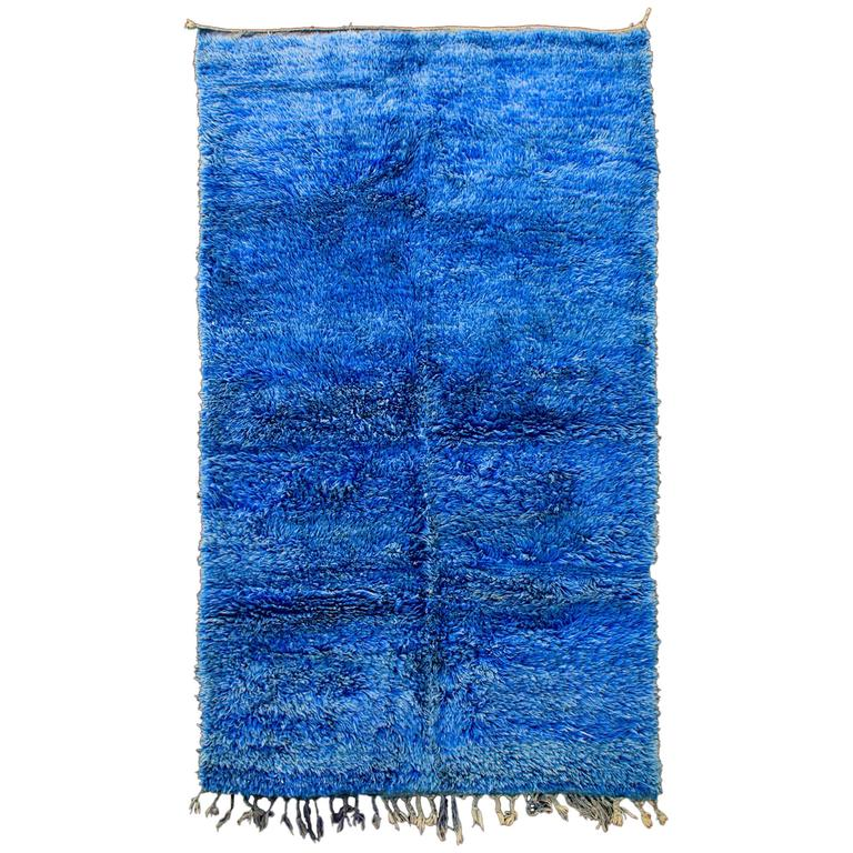 Handwoven berber wool rug vintage azilal for sale at 1stdibs for Wool berber area rug
