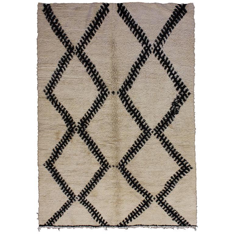 Handwoven Berber Wool Rug, Vintage Beni Ourain