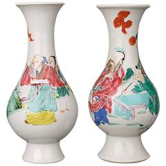 Pair of Chinese Porcelain Famille Rose Bulbous Vases, 18th Century