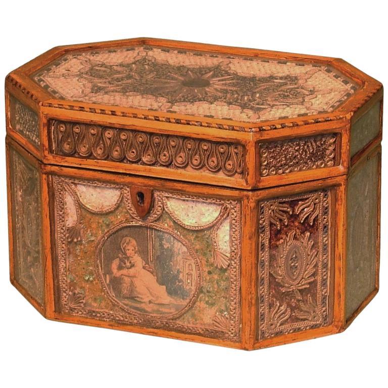 George III Period Octagonal Shaped Scrollwork Tea Caddy