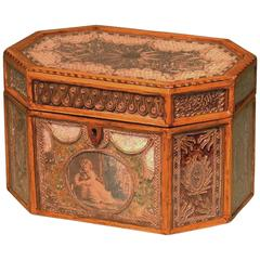 George III Period Octagonal Shaped Scrollwork Tea Caddy