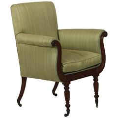 Early 19th Century Regency 'Lyre' Fronted Upholstered Mahogany Library Armchair
