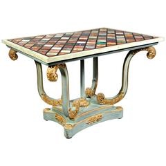 20th Century Pietra-Dura Style of Classicism Pastel Light Blue Table