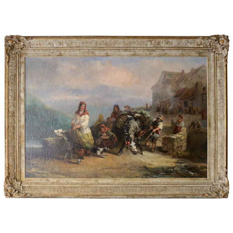 """Very Large 19th Century Oil on Canvas """"Farmer Family Leaving Their Village"""" For Sale"""