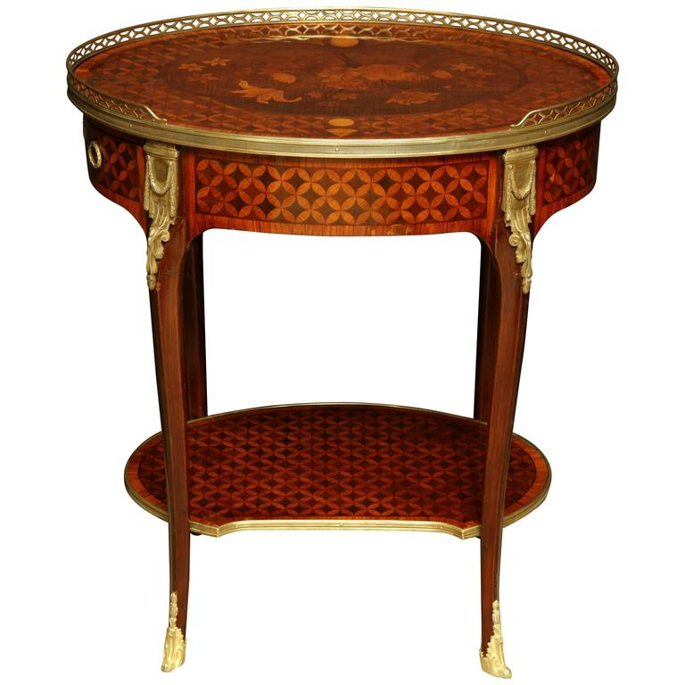 Louis xv oval marquetry side table for sale at stdibs