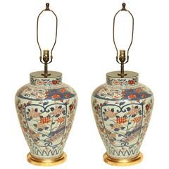 Large Pair of Imari Porcelain Lamps