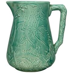 19th French Majolica Turquoise Bird Pitcher