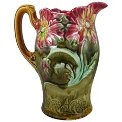 Majolica Poppies Pitcher Onnaing, circa 1900