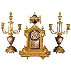 Sevres Louis XVI Style Porcelain and Gilt Bronze Clock Garniture, France, 1880