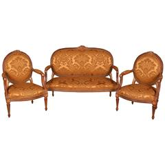 20th Century Louis Seize Style Wood French Seating Group Garniture