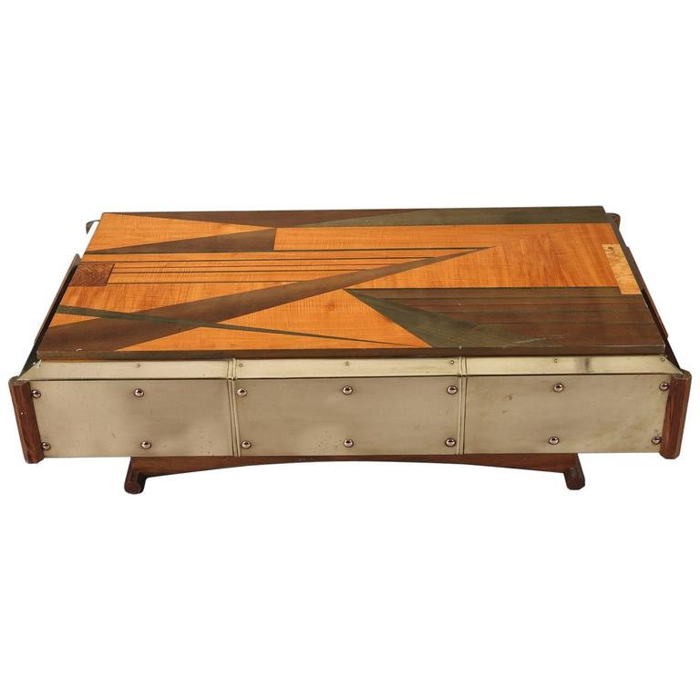 1970s Wood Furniture ~ S wood marquetry coffee table for sale at stdibs