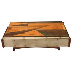 1970s Wood Marquetry Coffee Table