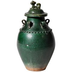 Green Glazed Earthenware with Lid