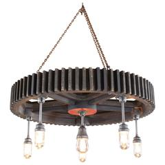 Bespoke Chandelier - Industrial Wooden Gear Pattern & Explosion Proof Lights