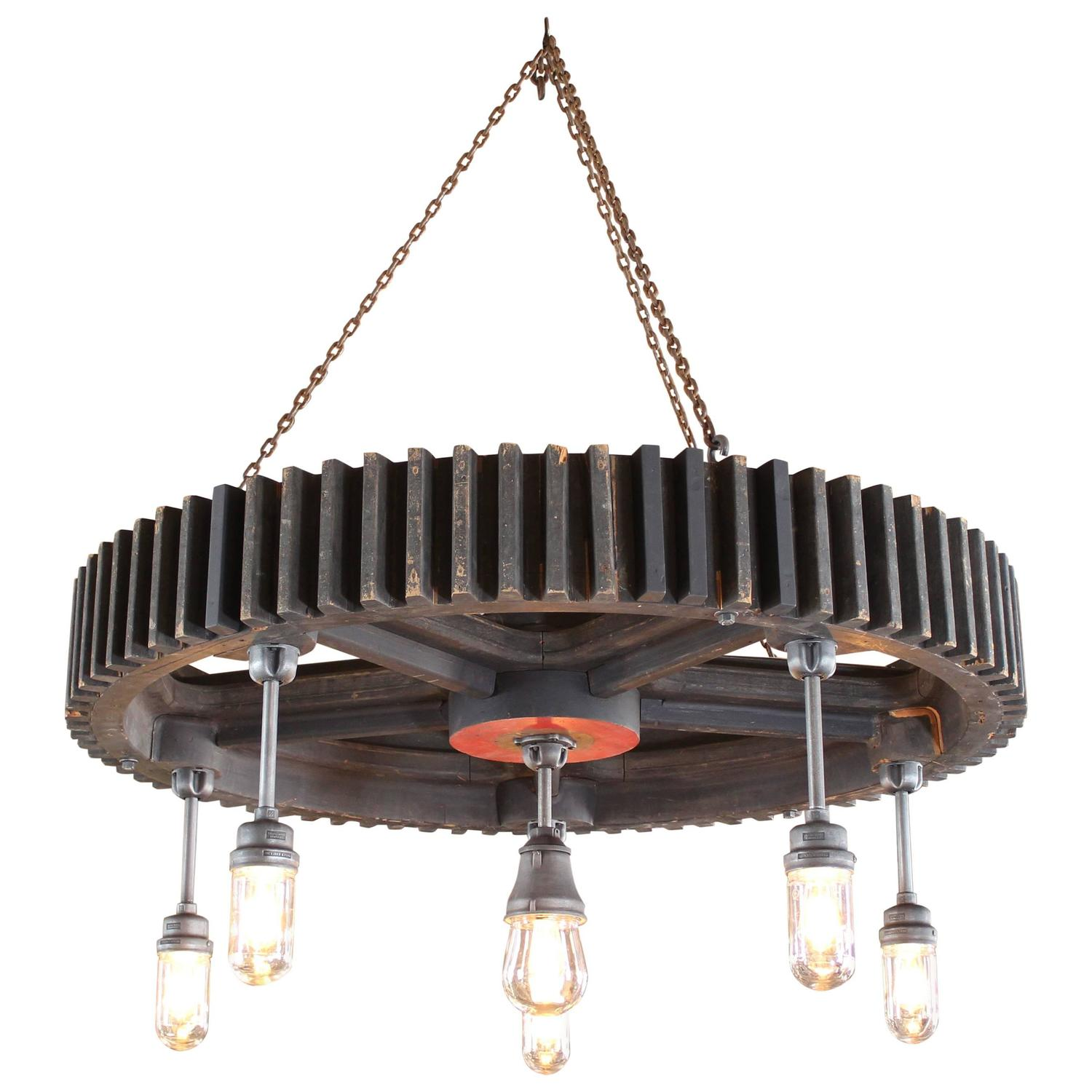 Antique and vintage lighting chandeliers and lamps 74373 for chandelier vintage industrial pattern wood amp glass light hanging pendant lamp arubaitofo Image collections