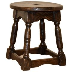 19th Century Elm Stool from France