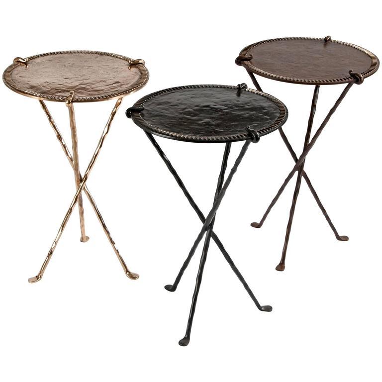 Bronze Gueridon Side Tables by Garouste & Bonetti