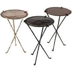 Three Bronze Gueridons Side Tables by Garouste & Bonetti