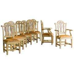 Set of Eight English Chippendale Style Chairs, Original Painted Decoration, 1890