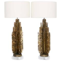 Monumental Mid-Century Modern Brutalist Pair of Lamps in Paul Evans Manner