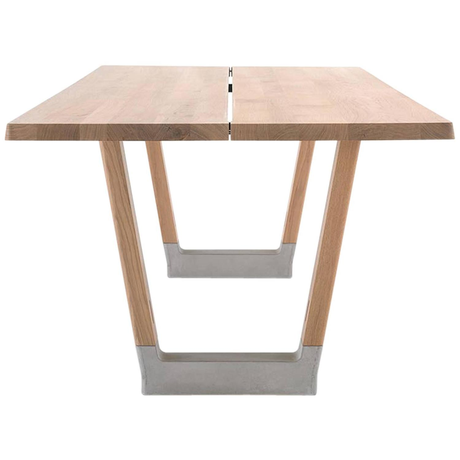 Slingshot Contemporary Dining Table with Trestle Legs in Solid