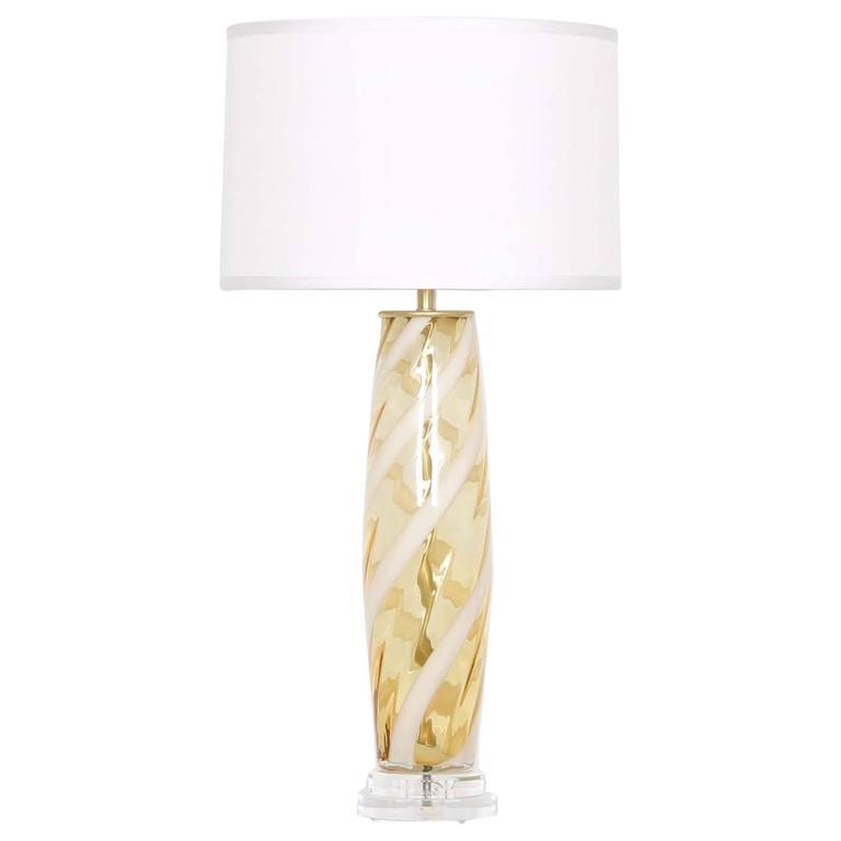 Mid-century Modern Murano Glass Lamp with White Ribbon Swirls