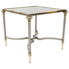 Side Table in Brass, Satin Steel and Antiqued Mirror