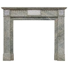 19th Century Neoclassical Louis XVI Fireplace Mantel In Campam Vert Marble