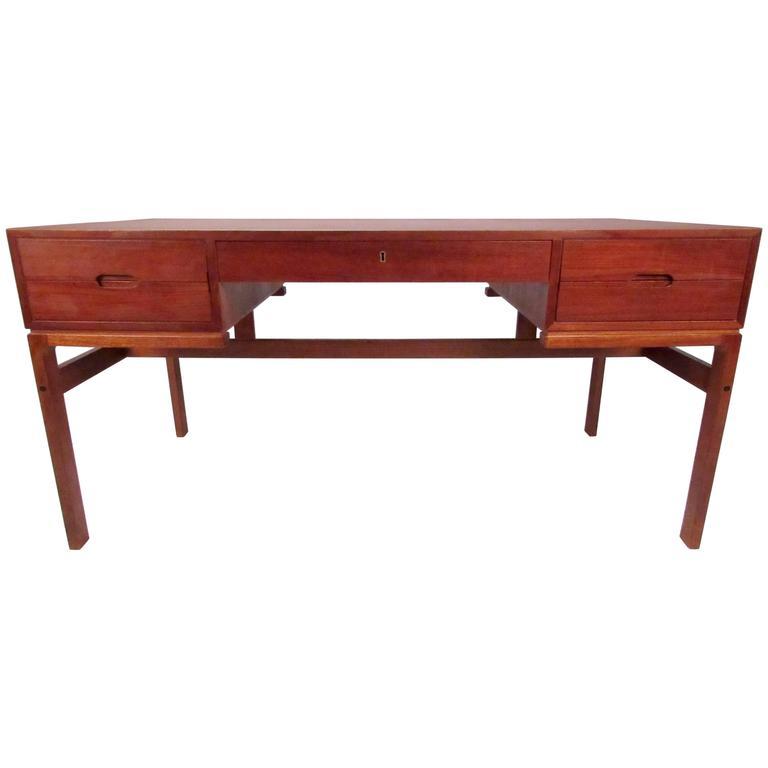 Vintage Modern Teak Double-Sided Desk