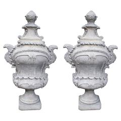 Pair of Large Cast Stone French Garden Finials