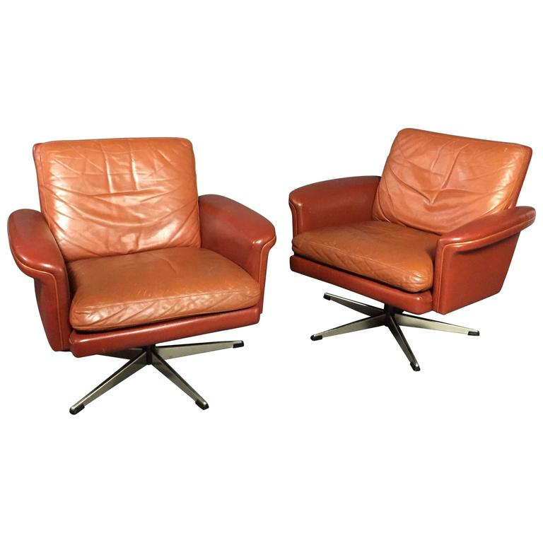Pair of Scandinavian Leather and Steel Swivel Chairs, Denmark, 1960s 1