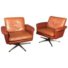 Pair of Scandinavian Leather and Steel Swivel Chairs, Denmark, 1960s