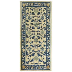 Ivory Blue Chinese 20th Century Throw Rug