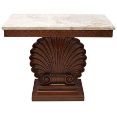 Shell Motif Mahogany Console Table by Edward Wormley for Dunbar Furniture