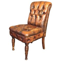 English Chesterfield Slipper Chair, 1920s, Updated Leather