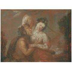 17th Century European Painting: Struggle Between Satyr, Pan and a Woman