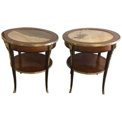 Pair of Louis XV Style Marble Top Tables or Gueridons with Rams Heads
