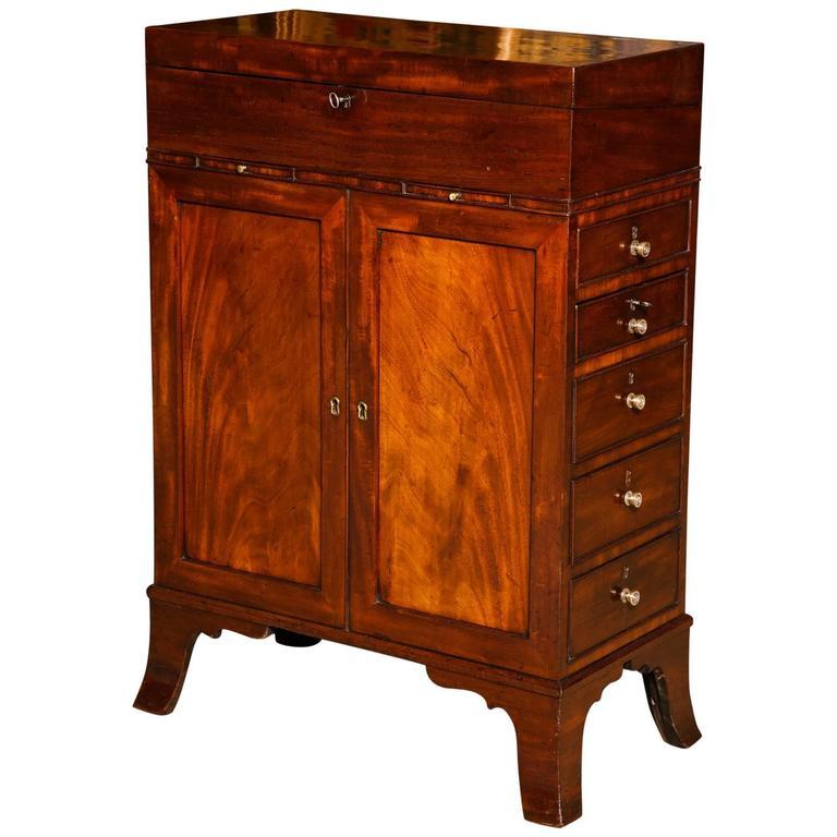 Regency Mahogany Hinger Davenport Desk with Hidden Compartments, circa 1800