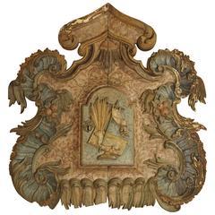 Antique Polychrome Tabernacle Facade, Spain, 1700s